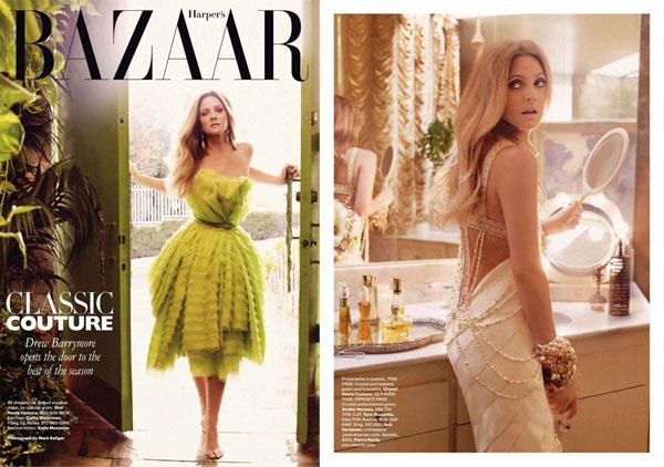 Дрю Бэрримор в Harper's Bazaar