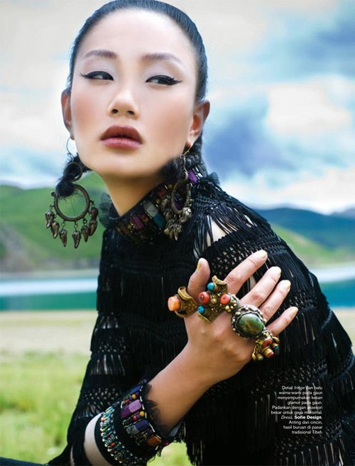 Фотосессия на Тибете для Harper's Bazaar Indonesia