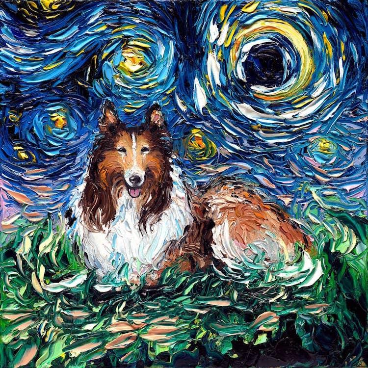 Питомцы под звездами от художницыAja Trier